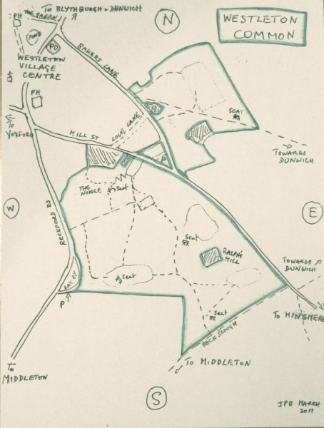 Sketch map of Westleton Common.